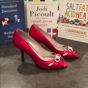 Very RED satin heels.